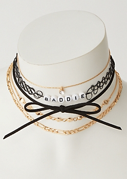 5-Pack Gold Baddie Tattoo Choker Necklace Set