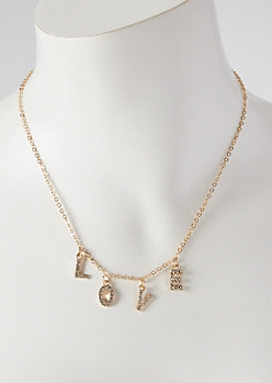 Gold Gem Love Charm Necklace