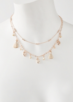 2-Pack Rose Gold Tassel Puka Shell Necklace Set