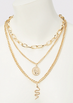 Gold Snake Charm Layered Necklace