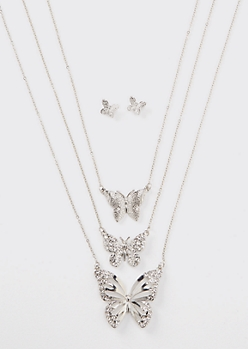 4-Piece Silver Butterfly Layered Necklace And Earring Set