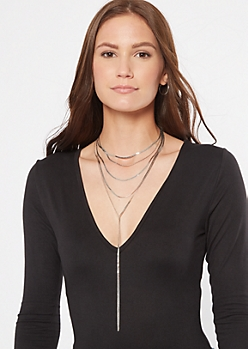 Silver Layered Drop Necklace
