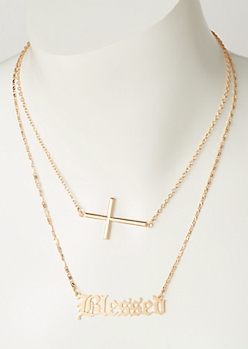 2-Pack Gold Layered Blessed Necklace Set