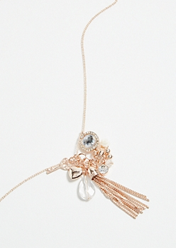 Rose Gold Key and Tassel Pendant Necklace