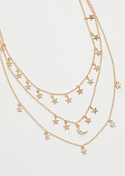 Gold Star Charm Layered Necklace