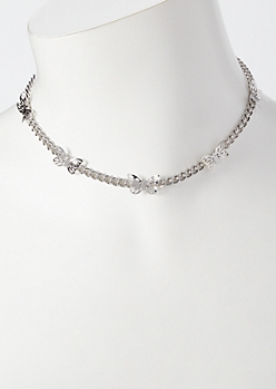 Silver Mini Butterfly Charm Choker Necklace