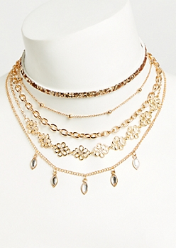 5-Pack Gold Filigree Choker Necklace Set