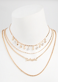 4-Pack Gold Baby Girl Layered Necklace Set