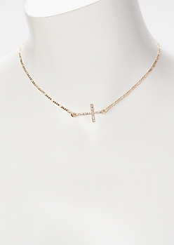 Gold Cross Rhinestone Necklace
