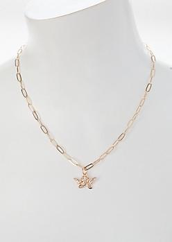 Gold Cherub Chain Necklace