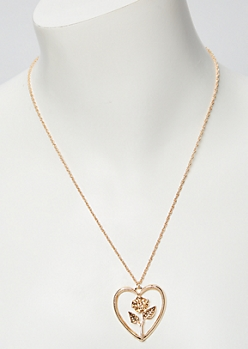 Gold Open Heart Rose Charm Necklace