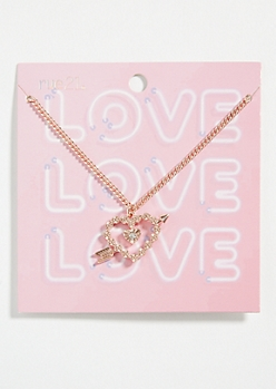 Rose Gold Heart Arrow Chain Necklace
