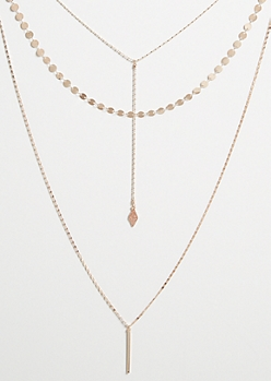 Rose Gold Long Bar Pendant Y Shape Layered Necklace