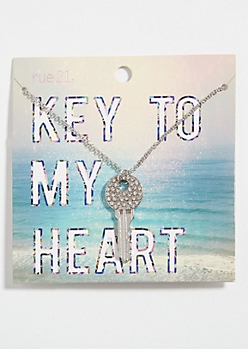 Silver Rhinestone Key Pendant Necklace