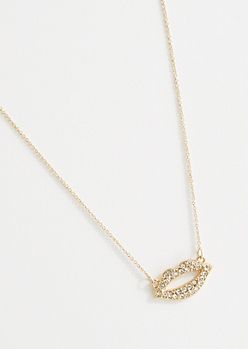 Gold Rhinestone Lips Pendant Necklace