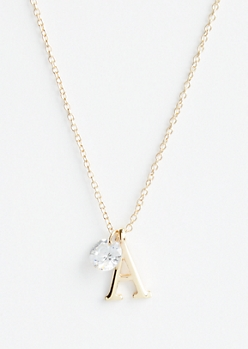 Gold A Initial Cubic Zirconia Pendant Necklace