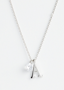 Silver A Initial Cubic Zirconia Pendant Necklace