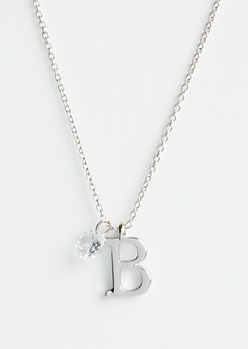 Silver B Initial Cubic Zirconia Pendant Necklace