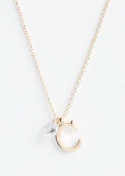 Gold C Initial Cubic Zirconia Pendant Necklace