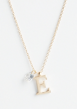 Gold E Initial Cubic Zirconia Pendant Necklace
