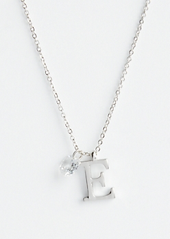 Silver E Initial Cubic Zirconia Pendant Necklace