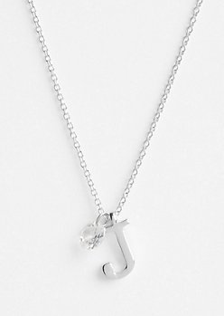 Silver J Initial Cubic Zirconia Pendant Necklace