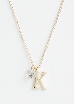Gold K Initial Cubic Zirconia Pendant Necklace