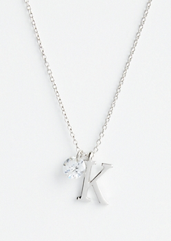 Silver K Initial Cubic Zirconia Pendant Necklace