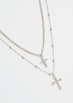 Silver Cross Mixed Chain Layered Necklace