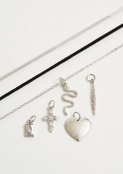 3-Pack Silver Interchangeable Charm Necklace Set