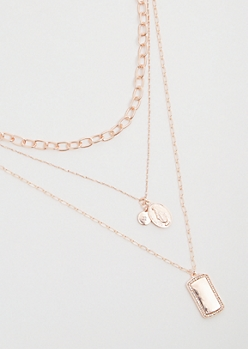 Rose Gold Dog Tag Mixed Chain Layered Necklace