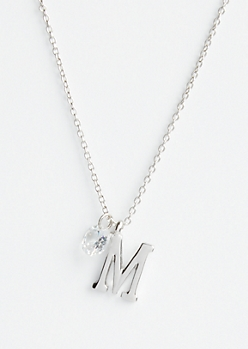 Silver M Initial Cubic Zirconia Pendant Necklace