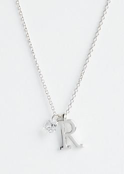 Silver R Initial Cubic Zirconia Pendant Necklace