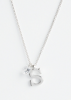 Silver S Initial Cubic Zirconia Pendant Necklace