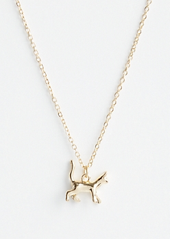 Gold Cat Spirit Animal Pendant Necklace