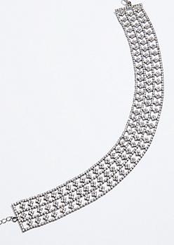 Metal Bead Flower Gem Choker Necklace