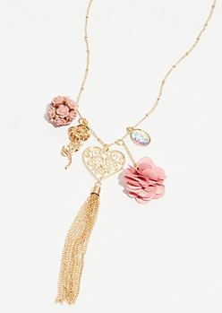 Gold Rose Cluster Pendant Necklace