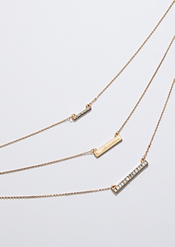 Gold Gem Bar Layered Necklace