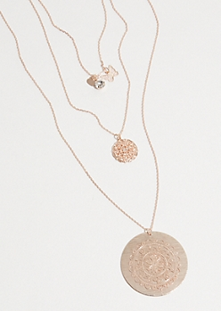 Rose Gold Filigree Medallion Layered Necklace