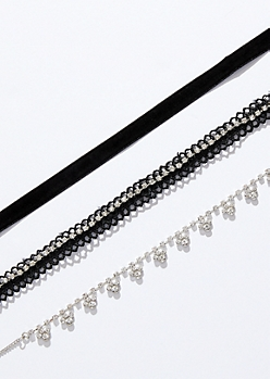 3-Pack Black Ribbon Gem Choker Necklace Set