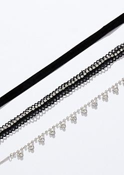3-Pack Black Ribbon Gem Choker Necklace Set