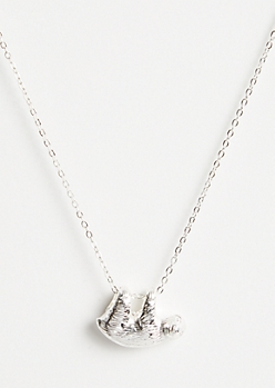 Silver Sloth Spirit Animal Pendant Necklace