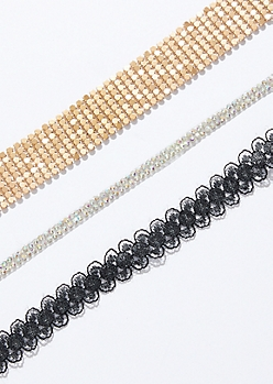 3-Pack Gold Lace Choker Necklace Set