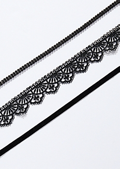 3-Pack Decorative Lace Choker Necklace Set