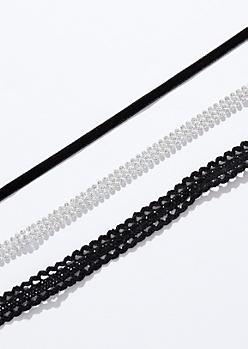 3-Pack Crochet Gem Choker Necklace Set