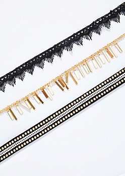 3-Pack Lace Pearl Choker Necklace Set