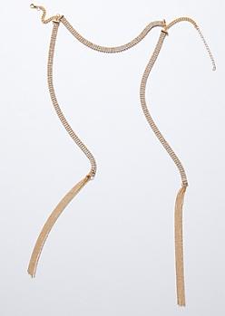 Gold Gem Tassel Drop Choker Necklace