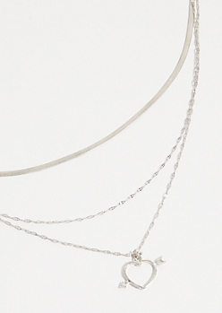 Silver Chain Heart Arrow Layered Necklace