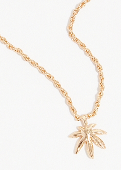 Gold Weed Leaf Pendant Necklace