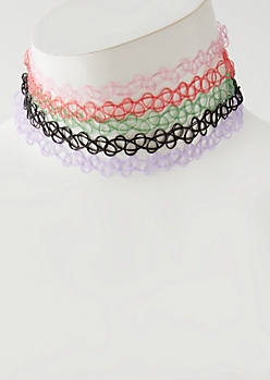 5-Pack Multi Tattoo Choker Set